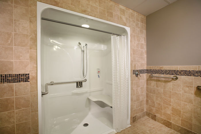 Large shower with safety features