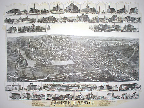 Reproduction Bird's Eye Map of North Easton, 1891