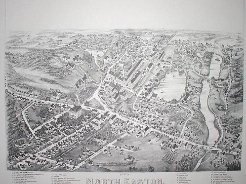 Reproduction Bird's Eye Map of North Easton, 1881