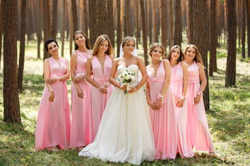 Ballet Pink Bridesmaids Dress Wedding Long Casual Elegant Plus Size