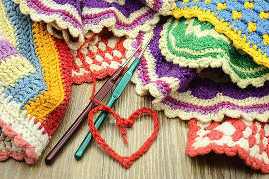 crocheting colorful oven cloth. handmade