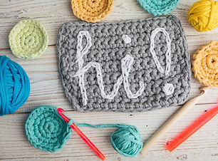 Crochet. Greeting word HI! Work place to