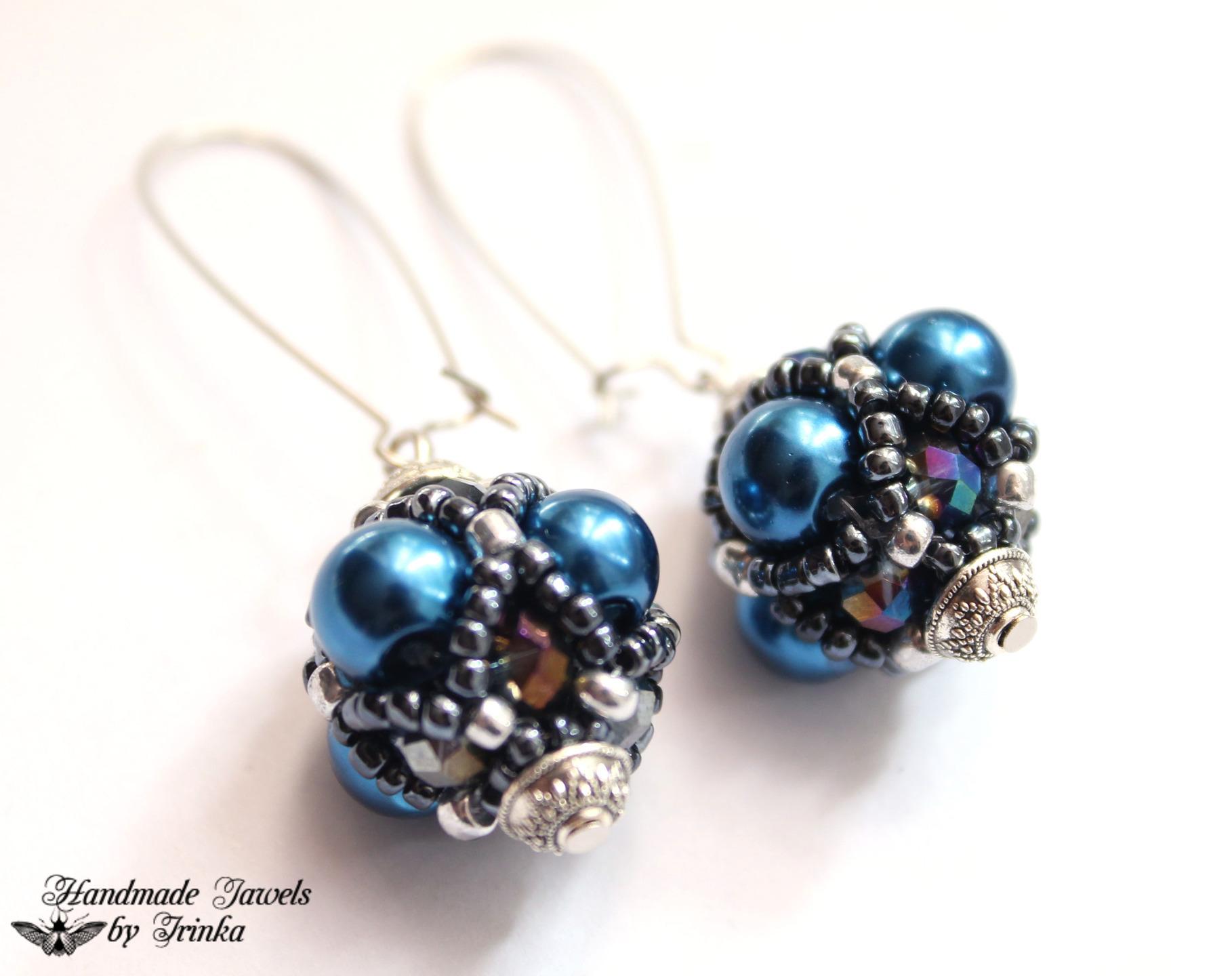 boucles d'oreilles perles broderie