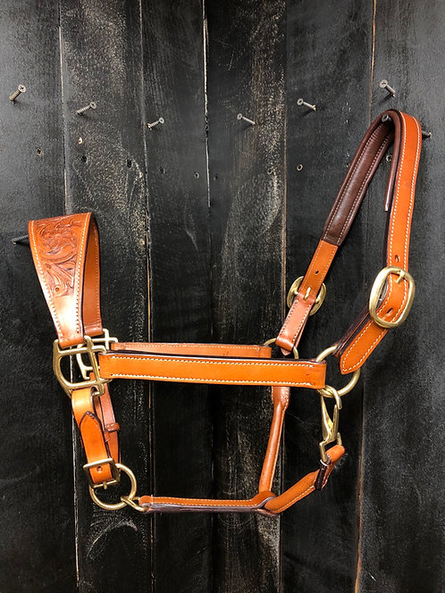 Leather Halter with Floral Tooled Nose Band