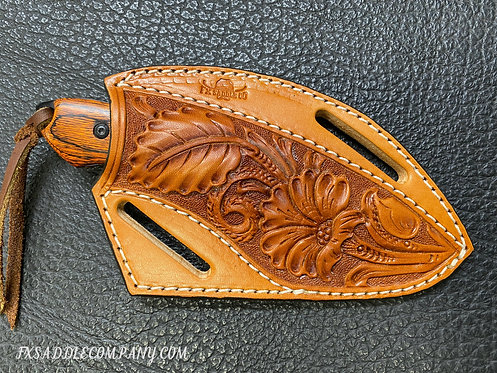 """Floral Pancake Knife Sheath with 6"""" Wood Knife / Light Oil Crossdraw Holster"""