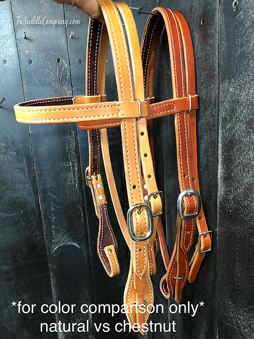 Quick Change Leather Headstall - Hermann Oak