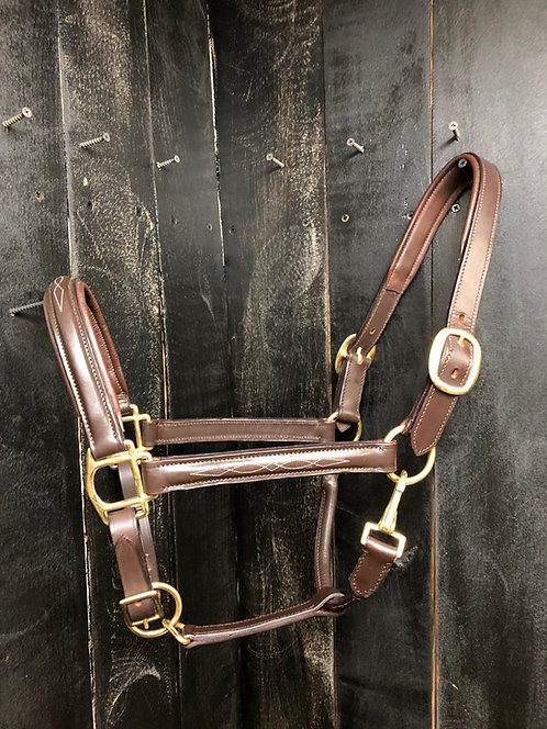 Leather Padded Stable Halter - Fancy Stitched