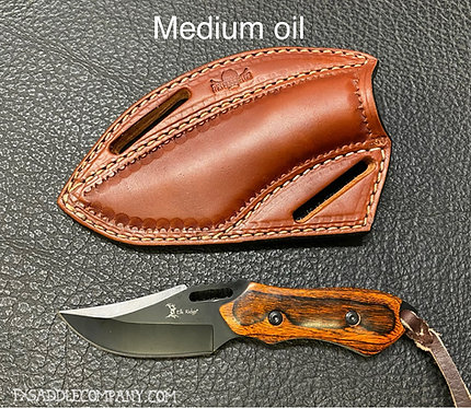 "Pancake Knife Sheath with 6"" Wood Knife / Medium Oil Crossdraw Holster"