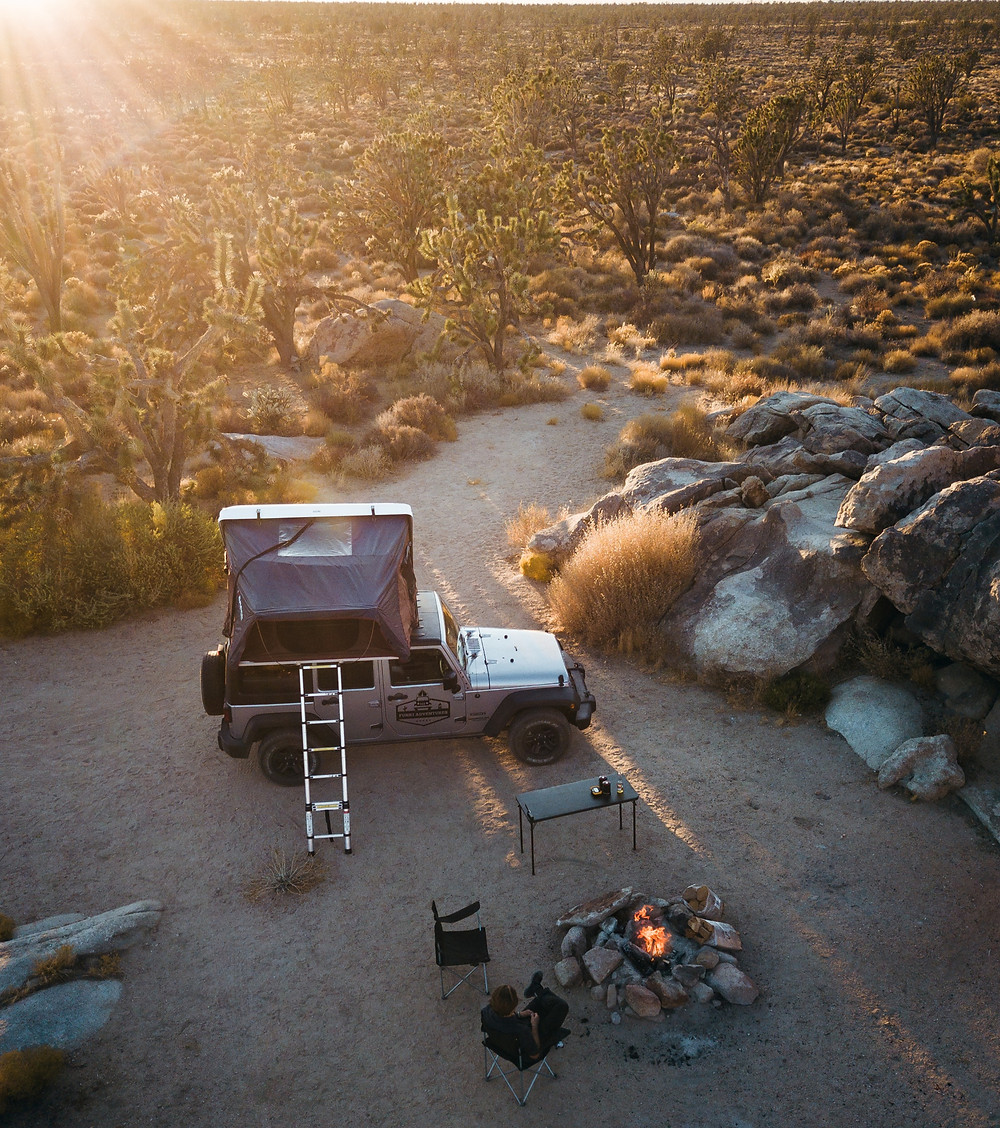 Primitive campsite in Mojave desert California