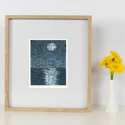 Limited Edition Reduction Lino Print | Silver Moon