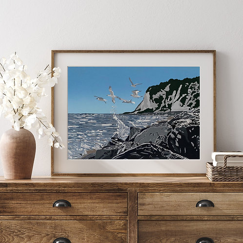 Limited Edition Reduction Lino Print | Shakespeare Beach