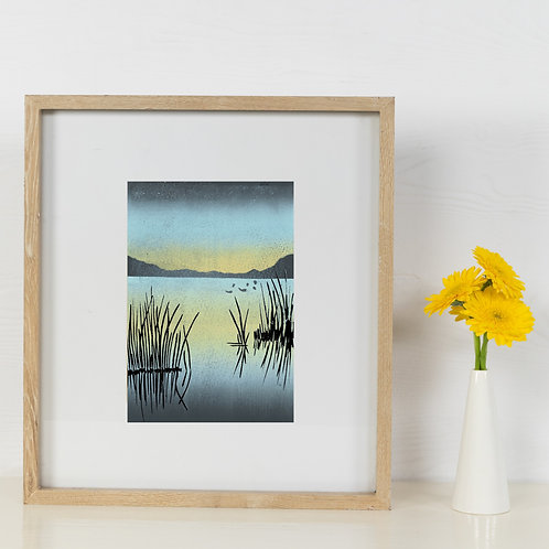 Limited Edition Reduction Lino Print | The Lake