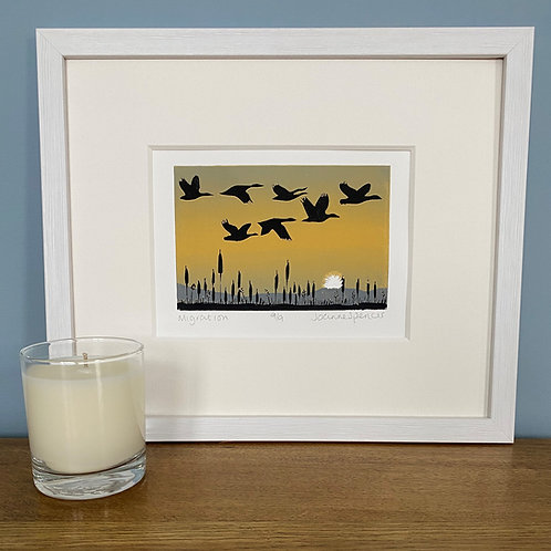 Framed Limited Edition Reduction Lino Print | Migration