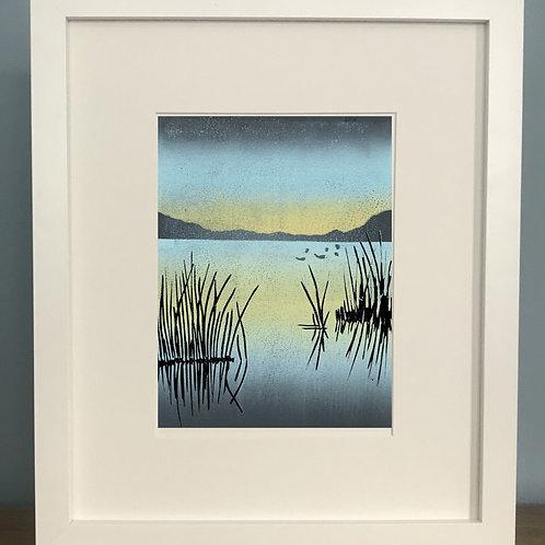 The Lake - Lino Print