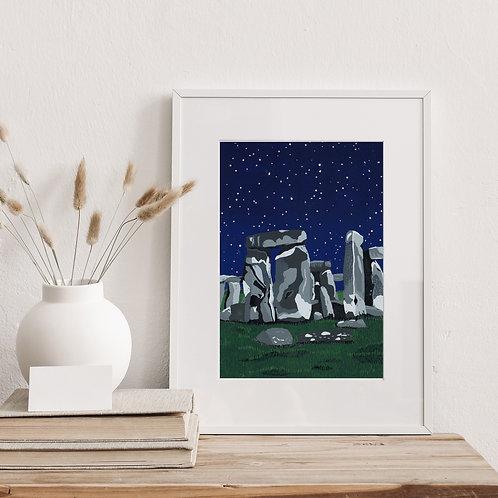 Framed Limited Edition Reduction Lino Print | Stonehenge