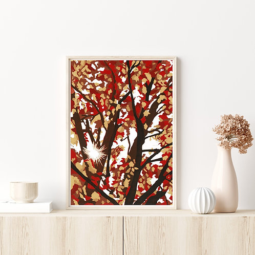 Framed Limited Edition Reduction Lino Print | Autumn Leaves