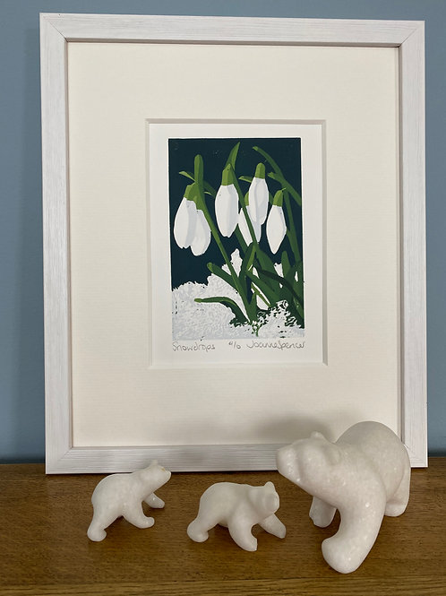 Framed Limited Edition Reduction Lino Print | Snowdrops