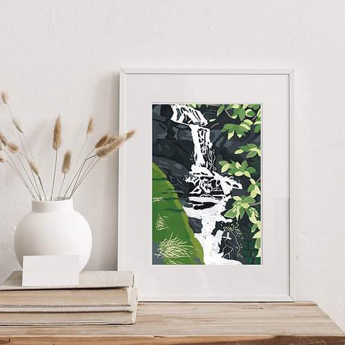 Limited Edition Reduction Lino Print | Waterfall