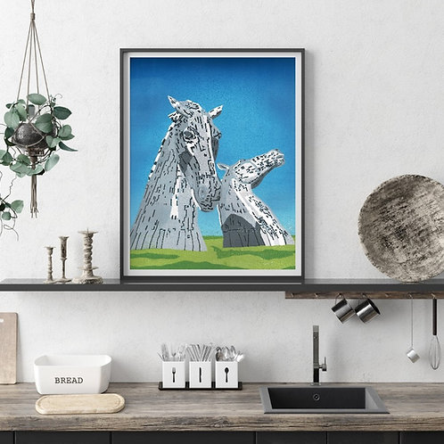 Limited Edition Reduction Lino Print | The Kelpies