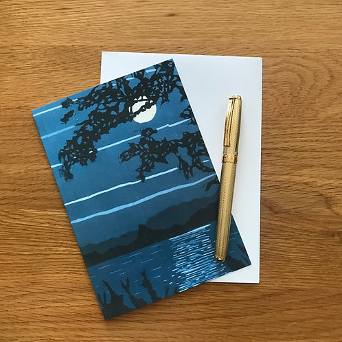 Blank Greetings Card | Monochrome Moon