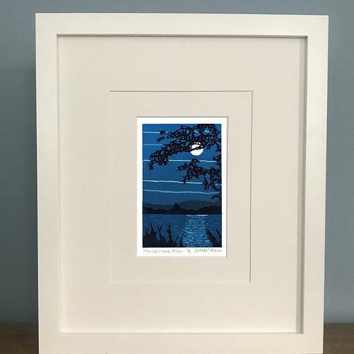 Monochrome Moon -  Lino Print