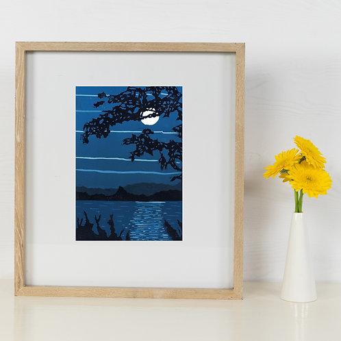 Limited Edition Reduction Lino Print | Monochrome Moon