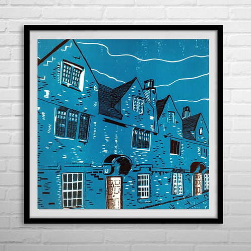 Limited Edition Lino Print | Weavers' Cottages