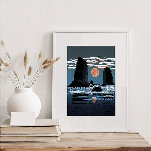 Framed Limited Edition Reduction Lino Print | Moonrise