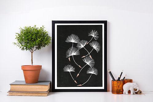 Limited Edition Reduction Lino Print | Dandelion Wishes