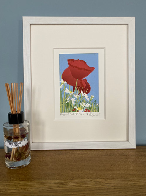 Framed Limited Edition Reduction Lino Print | Poppies and Daisies