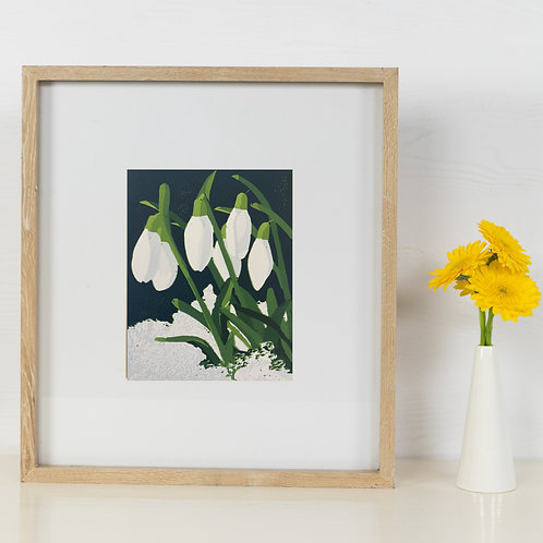 Limited Edition Reduction Lino Print | Snowdrops