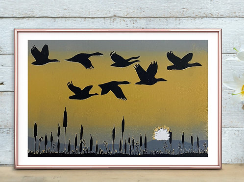 Limited Edition Reduction Lino Print   Migration