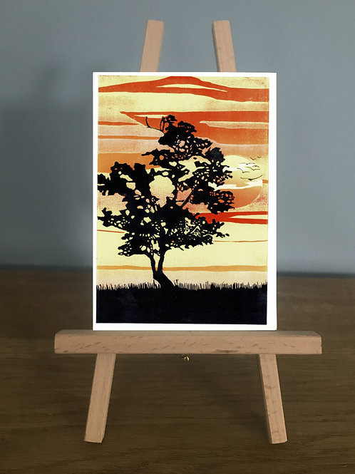 Lone Tree at Sunset - Blank Greetings Card