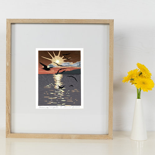Limited Edition Reduction Lino Print | Soaring Seagulls