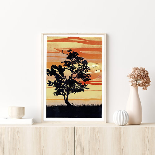 Framed Edition Reduction Lino Print | Sunset Tree