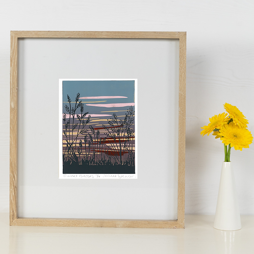 Limited Edition Reduction Lino Print | Sunset Grasses