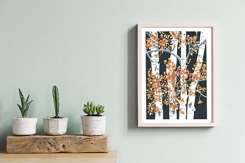 Autumn Birches - Lino Print
