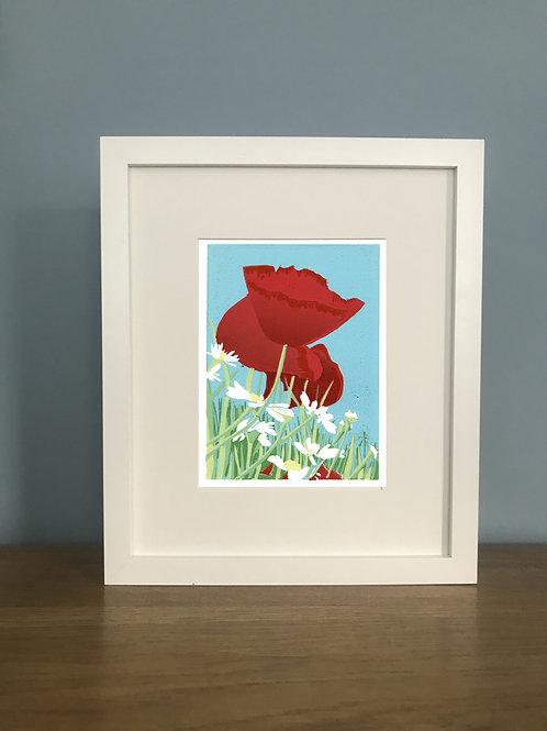 Poppies and Daisies -  Lino Print