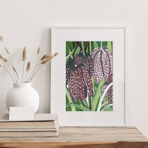 Framed Limited Edition Reduction Lino Print | Fratillary