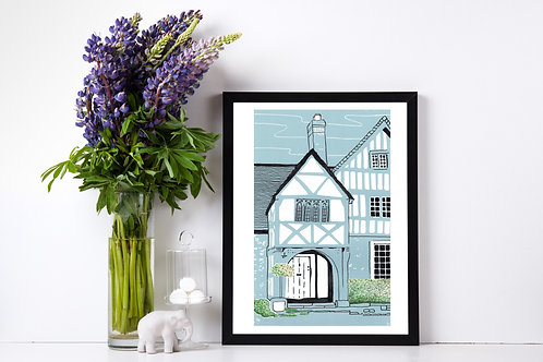 Lacock Cottage - Lino Print and Watercolour