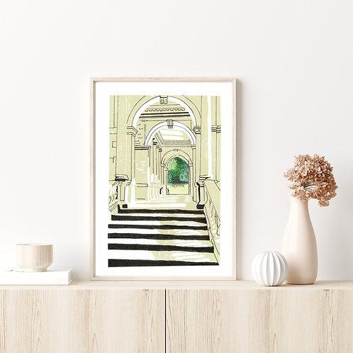Limited Edition Lino Print and  Watercolour | Palladian Bridge