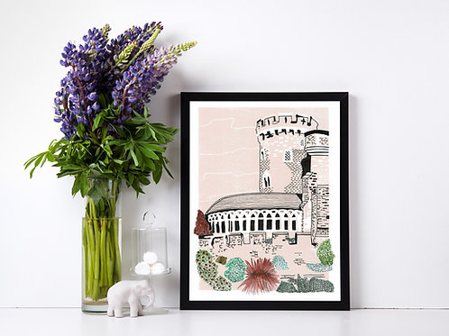 Limited Edition Lino Print and  Watercolour | Devizes Castle