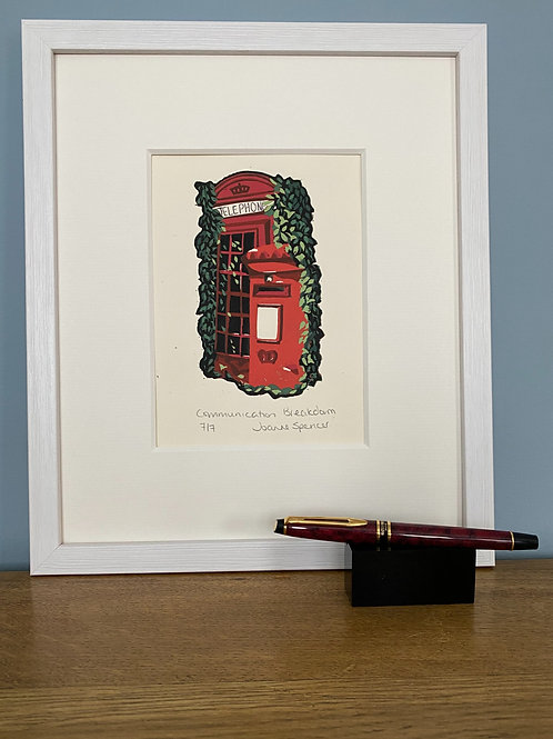 Framed Limited Edition Reduction Lino Print | Communication Breakdown