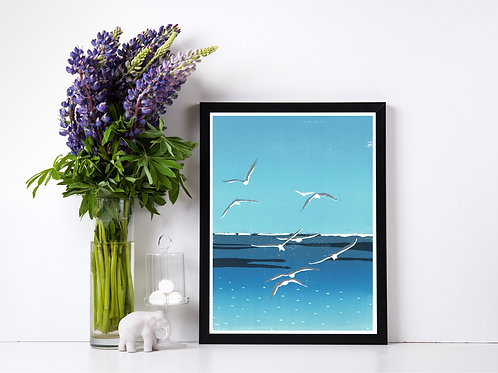 Seagulls - Reduction Lino Print