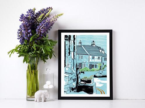 Castle Combe Pump - Lino Print and watercolour