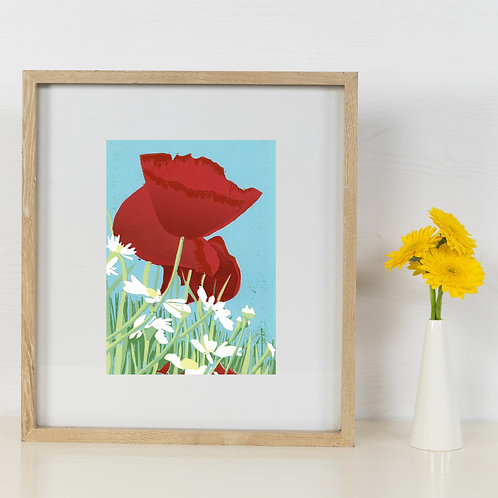 Limited Edition Reduction Lino Print | Poppies and Daisies