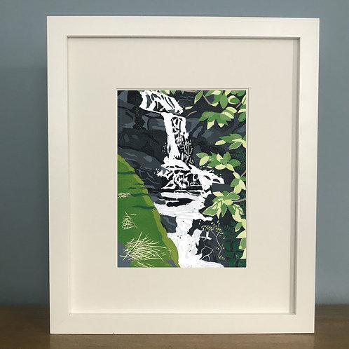 Waterfall - Lino Print