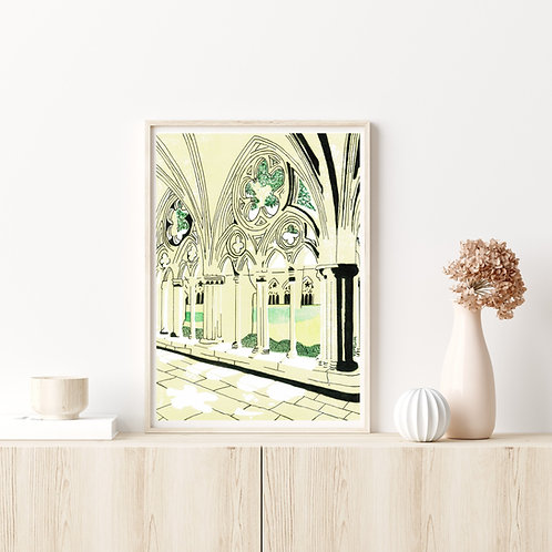 Limited Edition Lino Print and  Watercolour | Salisbury Cathedral