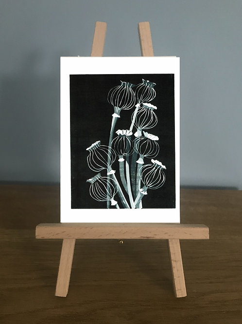 Poppy Seed Heads - Blank Greetings Card