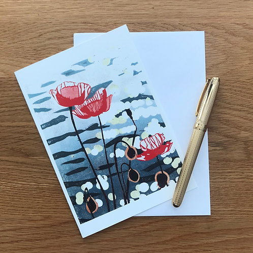 Blank Greetings Card | Poppies